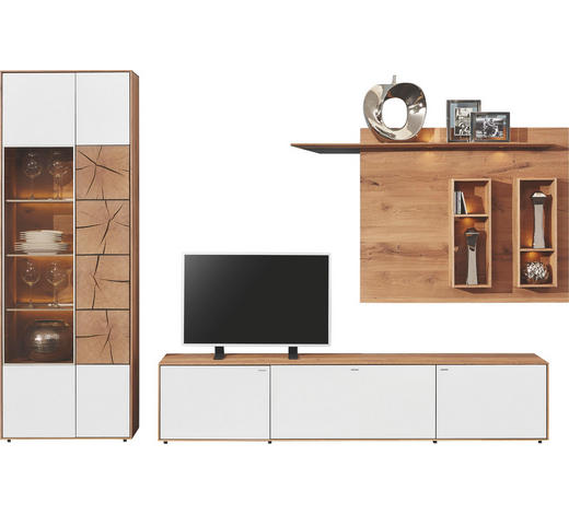 WOHNWAND Kerneiche vollmassiv Weiß, Eichefarben - Eichefarben/Weiß, Design, Glas/Holz (308/196/49cm) - Valnatura