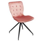 STUHL Samt Rosa, Schwarz  - Schwarz/Rosa, LIFESTYLE, Textil/Metall (47/84,5/56,2cm) - Kare-Design