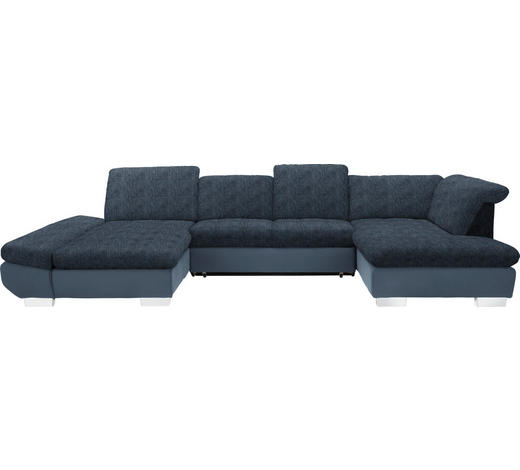 WOHNLANDSCHAFT in Textil Blau, Hellblau - Chromfarben/Blau, Design, Kunststoff/Textil (204/350/211cm) - Xora