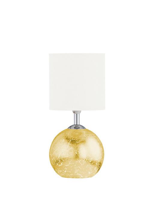 TISCHLEUCHTE - Beige/Goldfarben, LIFESTYLE, Glas/Textil (15,2/33,5cm)