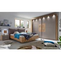 SCHLAFZIMMER in Eichefarben, Grau - Eichefarben/Grau, Design, Holzwerkstoff/Textil (180/200cm) - XORA