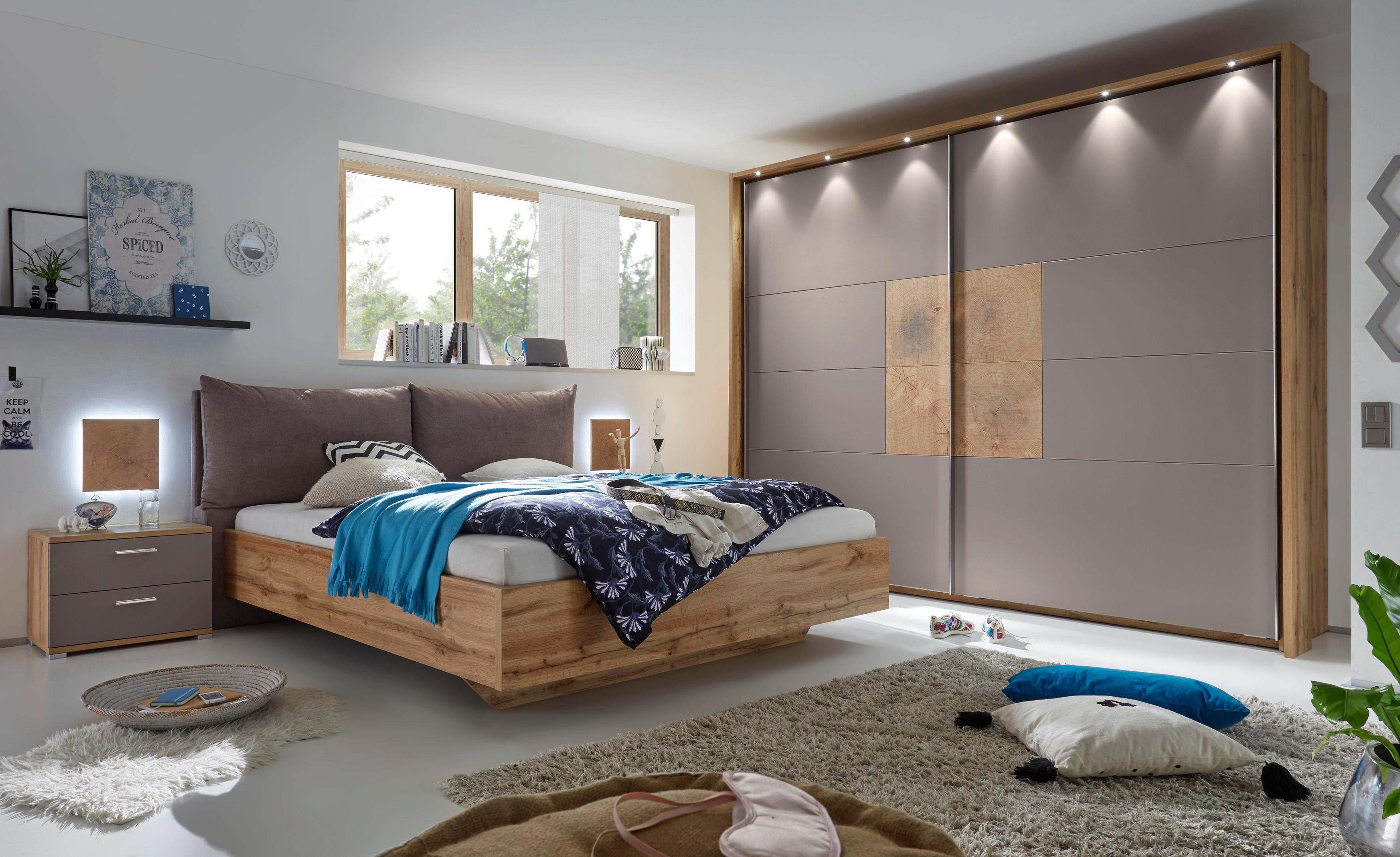 SCHLAFZIMMER In Eichefarben, Grau   Eichefarben/Grau, Design,  Holzwerkstoff/Textil (