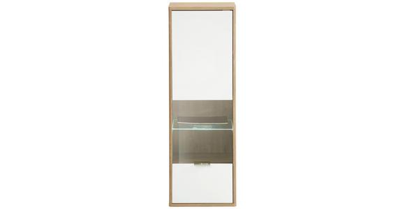 HÄNGEVITRINE in Eichefarben, Weiß - Edelstahlfarben/Eichefarben, Design, Glas/Holzwerkstoff (41/121/32cm) - Hom`in