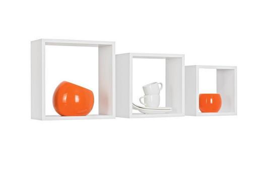 SADA NÁSTĚNNÝCH REGÁLŮ - bílá, Design, kompozitní dřevo (28/24/20/28/24/20/12cm) - Boxxx