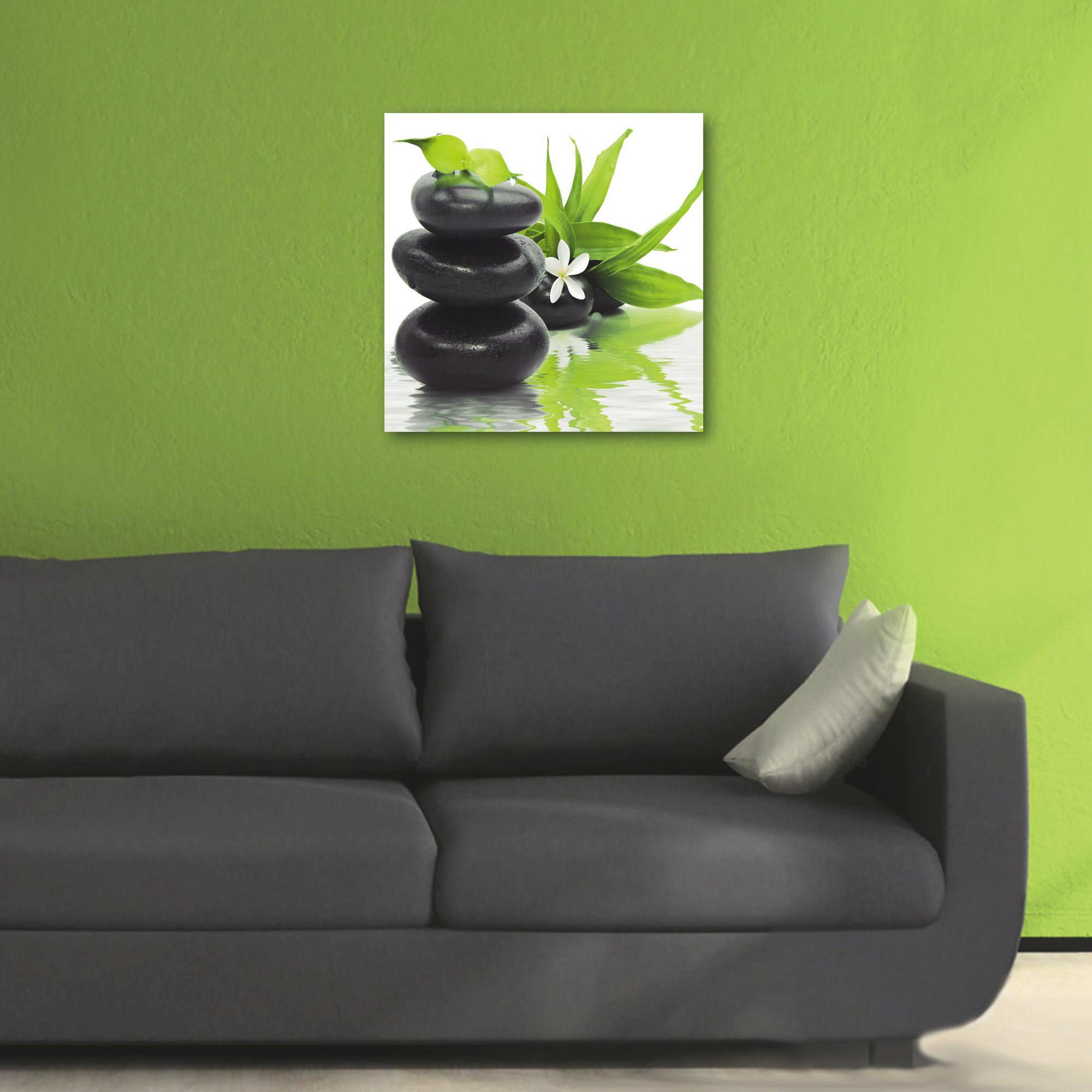 """Blumen, Steine, Wasser Glasbild """"Spa Arrangement"""" - Multicolor, Basics, Glas (50/50cm) - EUROGRAPHICS"""