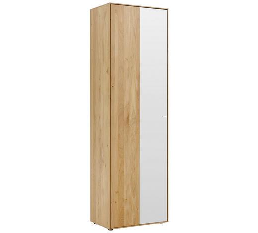 GARDEROBENSCHRANK 60/196/39 cm - Eichefarben/Alufarben, Natur, Glas/Holz (60/196/39cm) - Valnatura