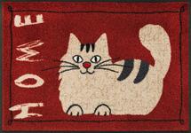 FUßMATTE 50/75 cm Katze Rot, Beige  - Beige/Rot, Basics, Kunststoff/Textil (50/75cm) - Esposa