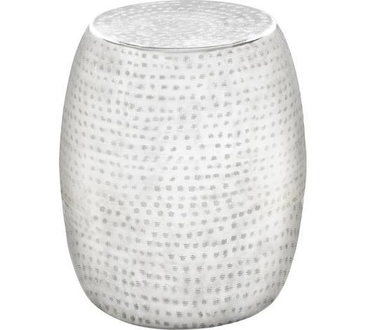 HOCKER Weiß, Alufarben  - Alufarben/Weiß, Trend, Metall (39/42cm) - Ambia Home