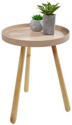 BEISTELLTISCH rund Braun, Creme - Creme/Braun, Basics, Holz (34,5/45cm)
