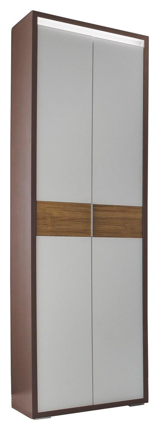 GARDEROBENSCHRANK Eiche lackiert Weiß, Eichefarben, Dunkelgrau - Eichefarben/Dunkelgrau, Design, Glas/Holz (62/203/35cm) - Cassando