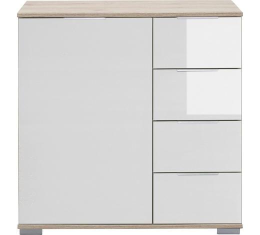 KOMMODE 81/83/41 cm - Eichefarben/Alufarben, Design, Glas/Holzwerkstoff (81/83/41cm) - Carryhome
