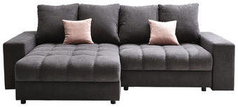 WOHNLANDSCHAFT Graphitfarben, Rosa Struktur - Graphitfarben/Schwarz, KONVENTIONELL, Kunststoff/Textil (160/255cm) - Carryhome