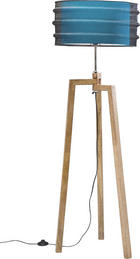 STEHLEUCHTE - Blau, Design, Holz/Textil (48/146/48cm) - Kare-Design
