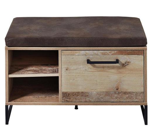 GARDEROBENBANK 79/49/38 cm - Anthrazit/Naturfarben, Trend, Holzwerkstoff/Textil (79/49/38cm) - Voleo