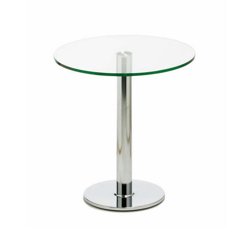 BEISTELLTISCH in Metall, Glas  - Klar/Chromfarben, Design, Glas/Metall (70/74cm)