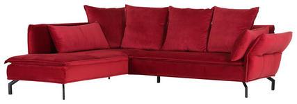 WOHNLANDSCHAFT in Textil Rot  - Rot/Schwarz, Trend, Textil/Metall (213/262cm) - Landscape