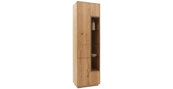 VITRINE in massiv Wildeiche Eichefarben - Eichefarben, Design, Glas/Holz (59/198,5/36cm) - Valnatura