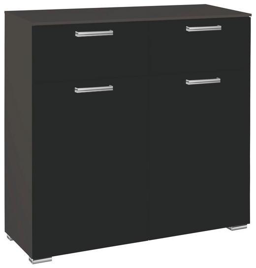 KOMMODE Graphitfarben, Schwarz - Chromfarben/Graphitfarben, Design, Holzwerkstoff/Kunststoff (110/105/42cm) - Carryhome