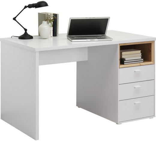 SCHREIBTISCH Weiß, Eichefarben  - Eichefarben/Alufarben, Design, Metall (120/74/70cm) - Hom`in