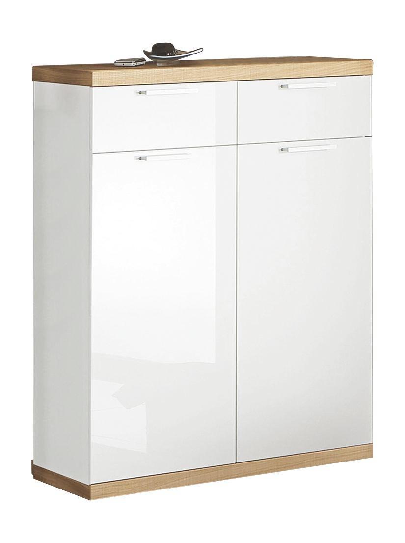 SCHUHSCHRANK Wildeiche furniert Hochglanz, lackiert, sägerau Eichefarben, Weiß - Edelstahlfarben/Eichefarben, MODERN, Holz/Metall (84/106/37cm)