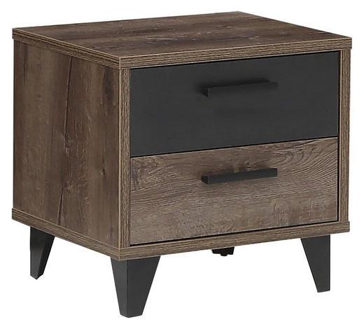 NOČNÍ STOLEK, kompozitní dřevo,  - černá/barvy dubu, Design, kompozitní dřevo/umělá hmota (49,8/48,5/41,5cm) - Carryhome