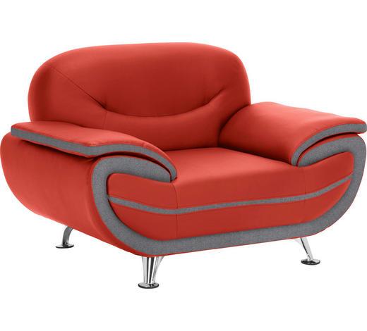 SESSEL Lederlook Rot, Dunkelgrau    - Chromfarben/Dunkelgrau, Basics, Textil/Metall (126/85/87cm) - Ti`me