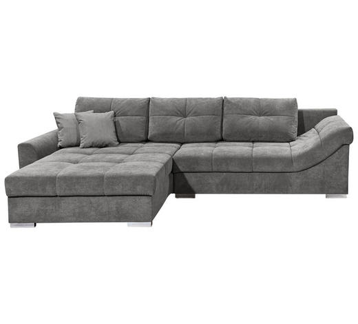 WOHNLANDSCHAFT in Textil, Holzwerkstoff Grau - Silberfarben/Grau, KONVENTIONELL, Holzwerkstoff/Kunststoff (197/315cm) - Carryhome