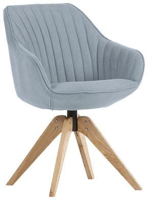 STOL - ljusblå/ekfärgad, Design, trä/textil (60/83/65cm) - Hom`in