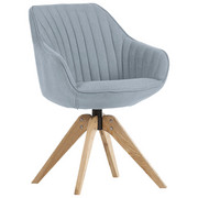 STUHL in Textil Hellblau - Eichefarben/Hellblau, Design, Holz/Textil (60/83/65cm) - Hom`in