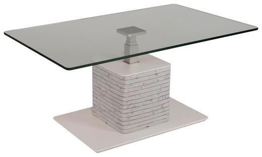 COUCHTISCH rechteckig Grau, Weiß - Weiß/Grau, KONVENTIONELL, Glas/Kunststoff (110/65/46,5-64,5cm) - Venda