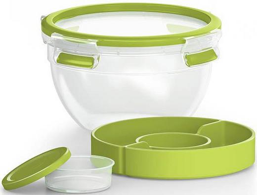 SALATSET 5-teilig - Klar/Grün, Design, Kunststoff (1,1l) - Emsa