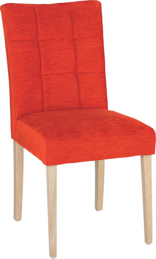 STUHL Velours Eiche massiv Eichefarben, Orange - Eichefarben/Orange, Design, Holz/Textil (47/93/61cm)