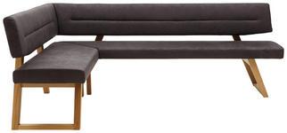 ECKBANK in Holz, Textil Anthrazit, Eichefarben - Eichefarben/Anthrazit, KONVENTIONELL, Holz/Textil (155/225cm) - Dieter Knoll