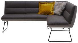 ECKBANK Lederlook Schwarz, Dunkelbraun, Hellbraun  - Hellbraun/Beige, Design, Textil/Metall (206/158cm) - Dieter Knoll
