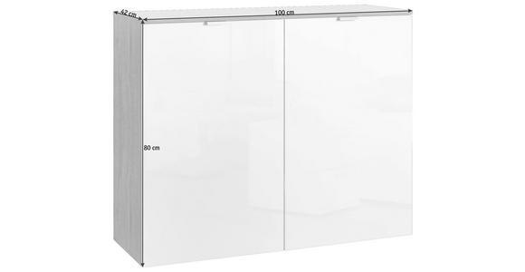 KOMMODE 100/80/42 cm  - Alufarben/Weiß, Design, Holzwerkstoff/Metall (100/80/42cm) - Hom`in