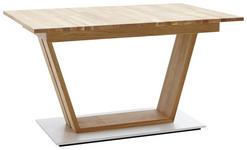 ESSTISCH in Holz 130(180)/90/76 cm - Edelstahlfarben/Eichefarben, KONVENTIONELL, Holz (130(180)/90/76cm) - Voleo