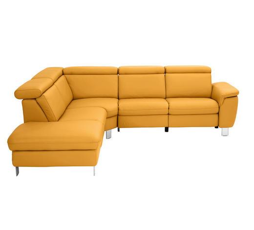 SEDACÍ SOUPRAVA, žlutá, kůže - barvy hliníku/žlutá, Design, kov/kůže (242/271cm) - Cantus