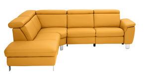WOHNLANDSCHAFT Gelb Echtleder  - Gelb/Alufarben, Design, Leder/Metall (242/271cm) - Cantus