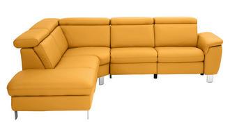 WOHNLANDSCHAFT in Leder Gelb  - Gelb/Alufarben, Design, Leder/Metall (242/271cm) - Cantus
