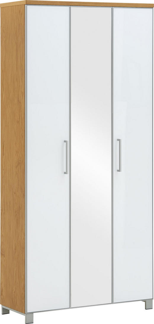 GARDEROBENSCHRANK - Chromfarben/Eichefarben, Design, Glas/Holz (90/193/37cm) - Novel