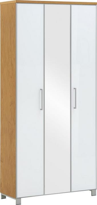 GARDEROBENSCHRANK Eiche furniert lackiert Eichefarben, Weiß - Chromfarben/Eichefarben, Design, Glas/Holz (90/193/37cm)