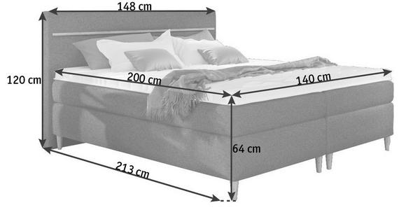 BOXSPRINGBETT Webstoff 140/200 cm  INKL. Topper  - Eichefarben/Beige, Design, Holz/Textil (140/200cm) - Linea Natura