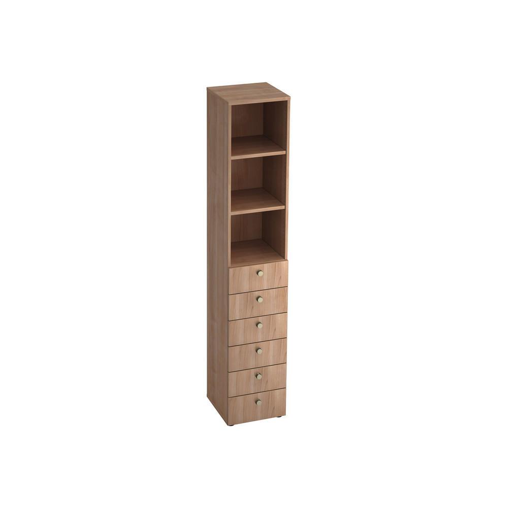 Regal , Nussbaum , Holzwerkstoff , 2 Fächer , 6 Schubladen , 40x215.6x42 cm , DIN EN ISO 14001 , Beimöbel erhältlich, in verschiedenen Holzarten erhältlich , Wohnzimmer, Regale, Bücherregale