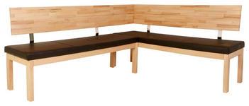 ECKBANK in Holz, Textil Buchefarben, Dunkelbraun - Dunkelbraun/Buchefarben, Natur, Holz/Textil (190/150cm) - Voleo