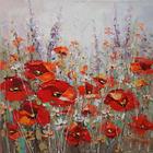 Blumen ÖLGEMÄLDE - Multicolor, LIFESTYLE, Holz/Textil (100/100cm) - Monee