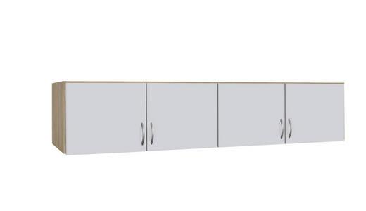 AUFSATZSCHRANK 181/39/54 cm Eichefarben, Weiß - Eichefarben/Silberfarben, Design, Kunststoff (181/39/54cm) - Carryhome