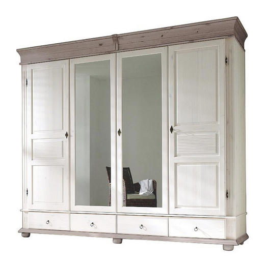 KLEIDERSCHRANK 4-türig Kiefer massiv Grau, Weiß - Weiß/Grau, Design, Holz/Metall (253/219/63cm) - Carryhome