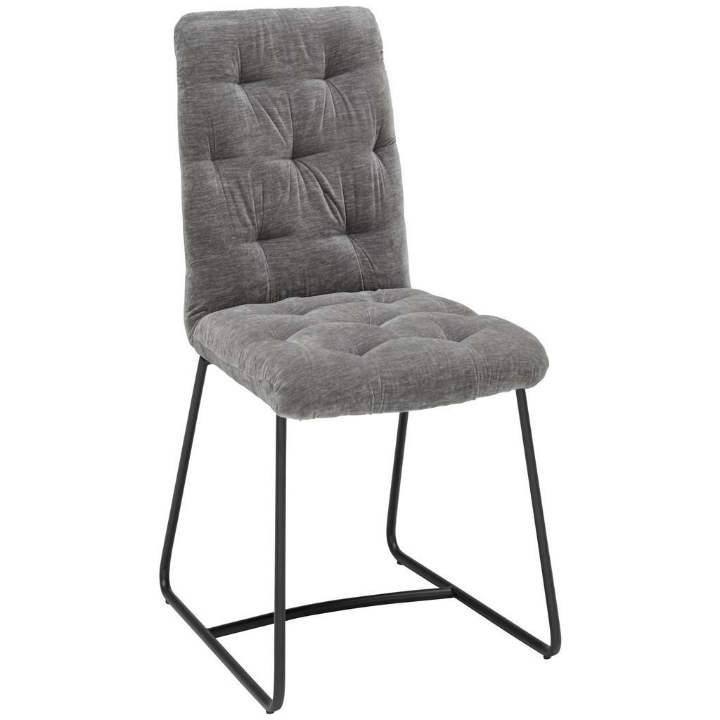 Image of Ambia Home Stuhl in metall, textil grau, schwarz , Cleo , 47x91.5x63 cm , pulverbeschichtet,Samt , 002942001303