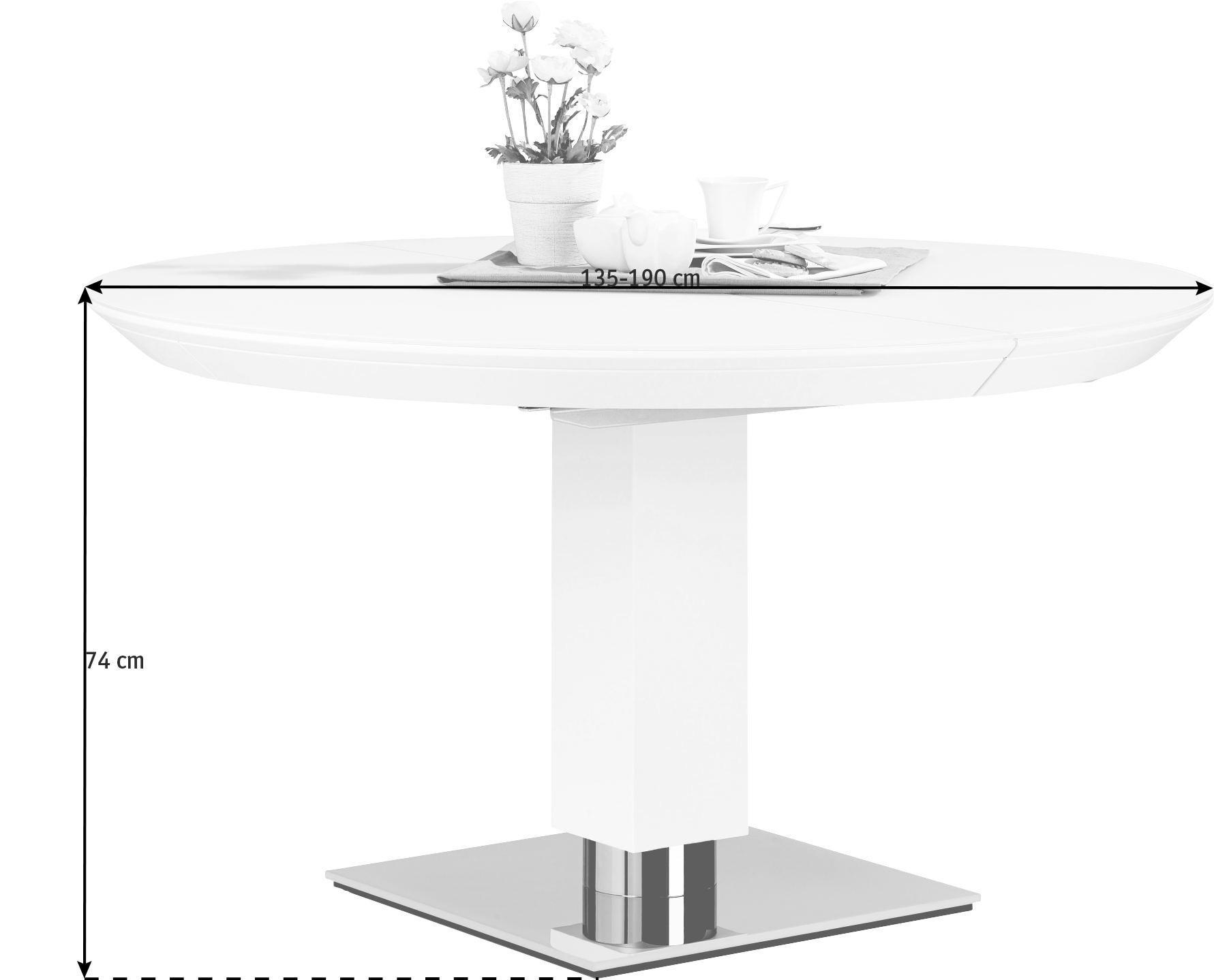 ESSTISCH rund Weiß - Weiß, MODERN, Glas/Holz (135/74cm)