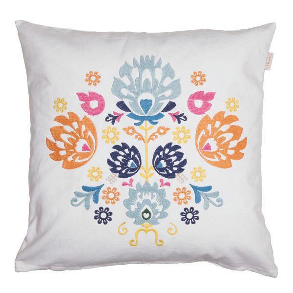 KISSENHÜLLE Blau, Gelb, Orange, Pink, Weiß 45/45 cm - Blau/Pink, Textil (45/45cm) - ESPRIT